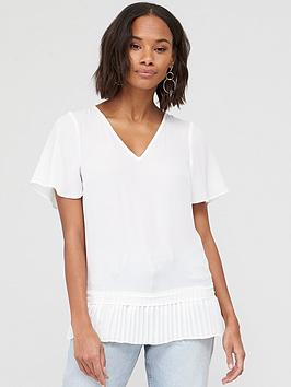 V by Very V By Very Pleated Hem Fluted Short Sleeve Top - Ivory Picture