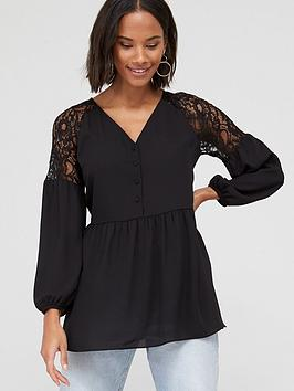 v-by-very-lace-shoulder-button-through-peplum-blouse-black