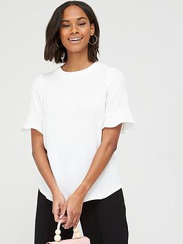 V by Very V By Very Fluted Short Sleeve Top - Ivory Picture