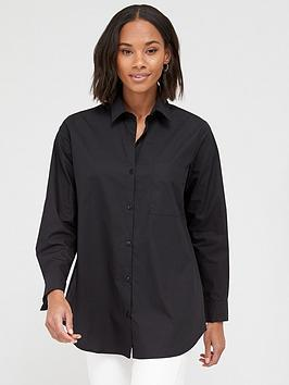 V by Very V By Very Oversized Cotton Shirt - Black Picture