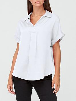 v-by-very-short-sleeve-collared-notch-neck-blousenbsp--ivorynbsp