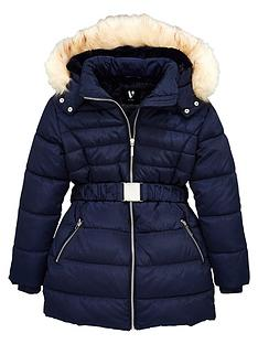 v-by-very-girls-faux-fur-hooded-shower-proof-belted-coat--nbspnavy