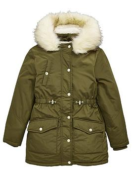 v-by-very-mini-menbspgirls-faux-fur-trim-shower-proofnbspparka-coat-khaki