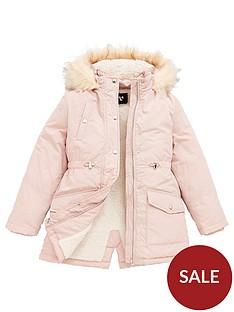 v-by-very-girls-shower-proofnbspfaux-fur-trim-parka-pink
