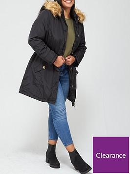v-by-very-curve-faux-fur-trim-hooded-parka-coat-black