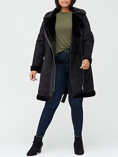 v-by-very-curve-faux-shearling-longline-biker-coat-black