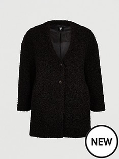 v-by-very-curve-collarless-teddy-faux-fur-coat-black