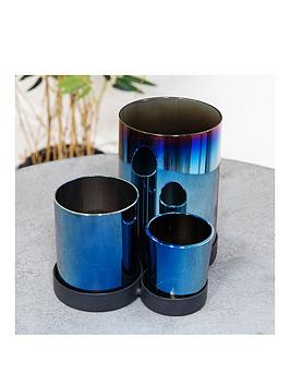 Very Set Of 3 Glass Candle Holders Picture
