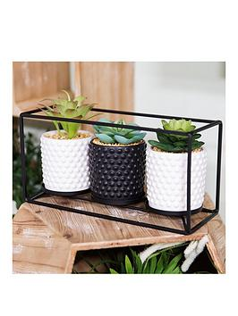 Very Moroccan Black Metal Triple Wall Plant Holder Picture