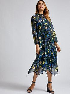dorothy-perkins-floral-chiffon-hanky-hem-midi-dress-black