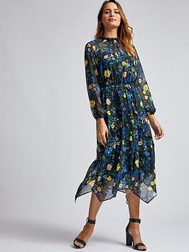 Dorothy Perkins Dorothy Perkins Floral Chiffon Hanky Hem Midi Dress - Black Picture