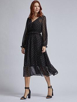 Dorothy Perkins Dorothy Perkins Ditsy V Neck Long Sleeve Midi Dress - Black Picture