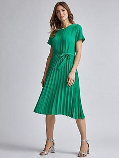 dorothy-perkins-keyhole-pleated-midi-dress-green