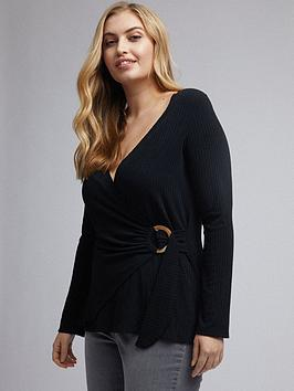 Dorothy Perkins Dorothy Perkins Curve Wrap Jersey Rib Top - Black Picture