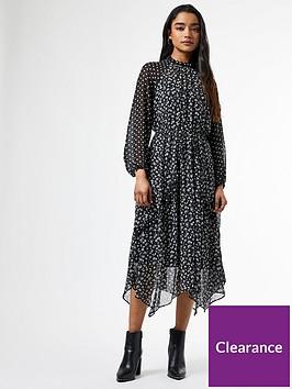 dorothy-perkins-spot-mix-and-match-ruffle-long-sleevenbspdress-blacknbsp