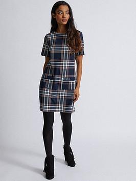 dorothy-perkins-check-shift-dress--nbspnavy