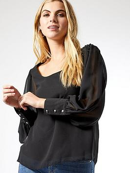 Dorothy Perkins Dorothy Perkins Chiffon Scoop Neck Long Sleeve Top - Black Picture