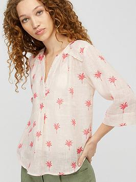 Monsoon Monsoon Percy Print 100% Linen Gauze Top - White Picture