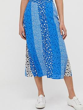 Monsoon Monsoon Poppy Patch Sustainable Viscose Skirt - Blue Picture
