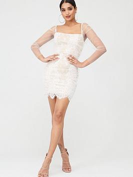 In The Style In The Style In The Style Lace Mesh Puff Sleeve Mini Dress -  ... Picture