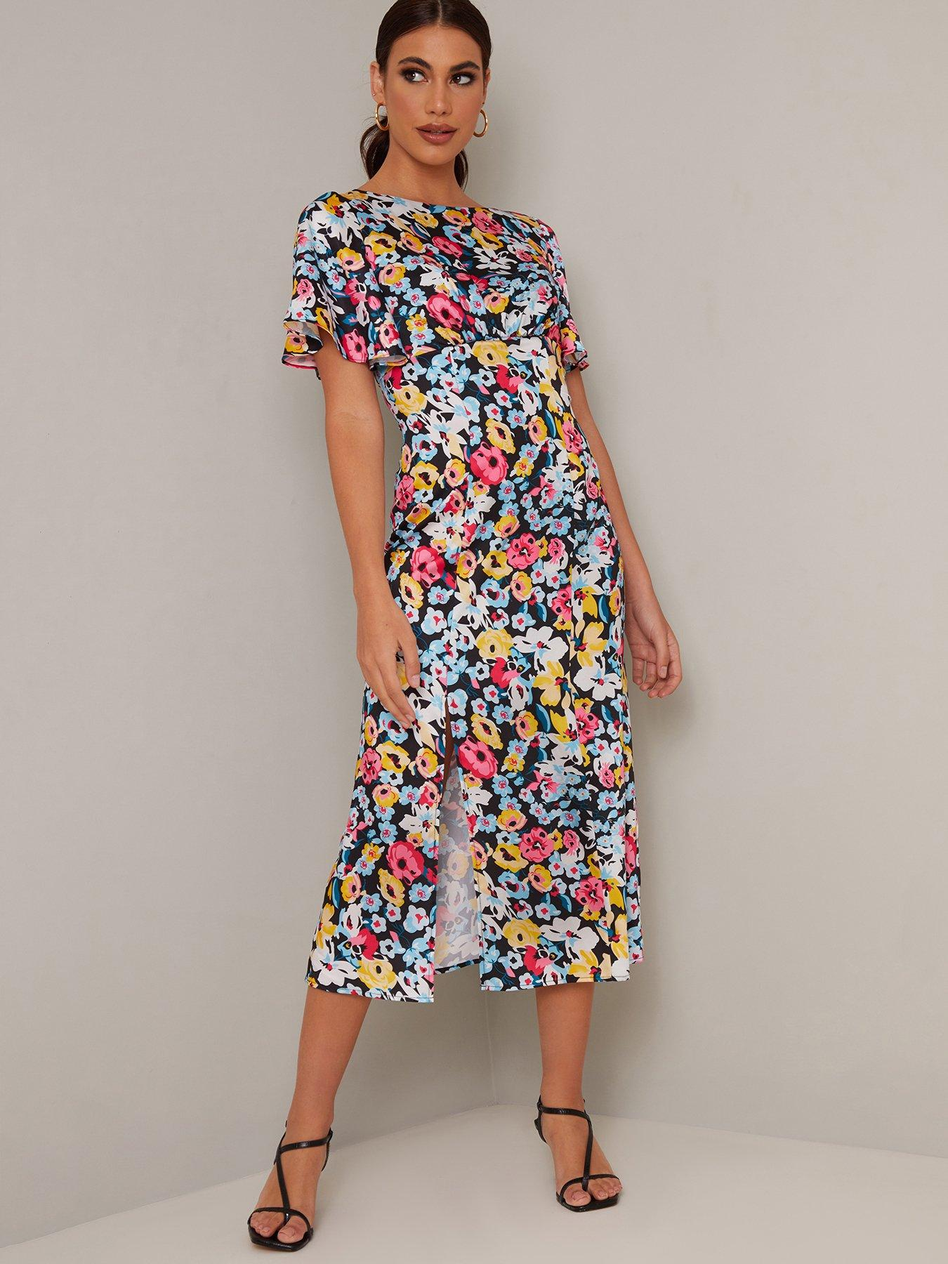 Hobbs elegant floral print layer dress in black 18 RRP £159