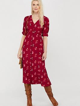 Monsoon Monsoon Betty Print Sustainable Viscose Dress - Red Picture