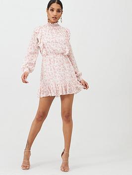 In The Style In The Style In The Style Shirred High Neck Pephem Mini Dress  ... Picture