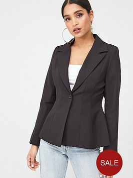 in-the-style-in-the-style-x-stephsa-fit-amp-flare-pleat-detail-blazer-black