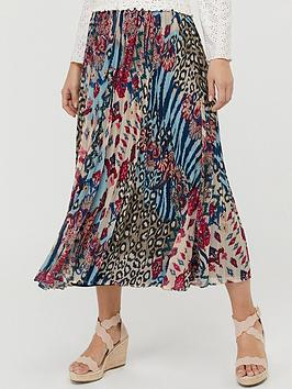 monsoon-mercy-recycled-polyester-pleated-skirt-blue