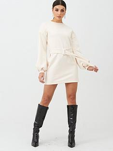 in-the-style-in-the-style-x-billie-faiers-self-fabric-belt-sweater-dress-cream