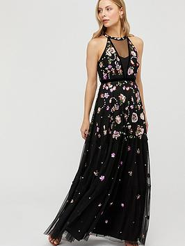 Monsoon Monsoon Cara Floral Embellished Maxi Dress - Black Picture