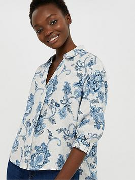 Monsoon Monsoon Esther Printed 100% Linen Blouse - Natural Picture