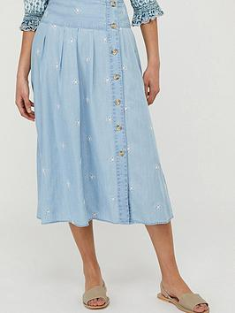 Monsoon Monsoon Elsie Embroidered Skirt - Blue Picture
