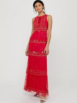 Monsoon Monsoon Sai Embellished Recycled Poly Maxi Dress - Red Picture