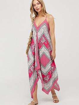 Monsoon Christa Ecovero Scarf Print Dress - Pink