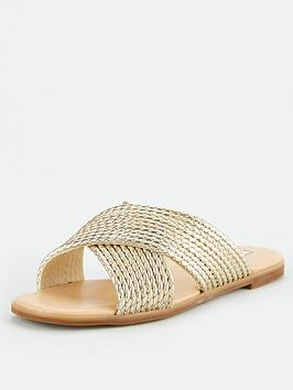 office-steffanni-cross-over-flat-sandals-gold