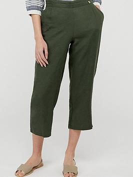 Monsoon Monsoon Bernice 100% Linen Trousers - Khaki Picture