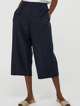 Monsoon Monsoon Eureka Linen Blend Crop Trouser - Navy Picture