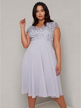Chi Chi London Curve Chi Chi London Curve Nada Lace Top Dress - Blue Picture