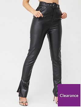 in-the-style-in-the-style-x-stephsa-faux-leather-split-hem-trousers-black