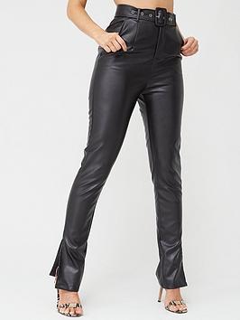In The Style In The Style In The Style X Stephsa Faux Leather Split Hem  ... Picture