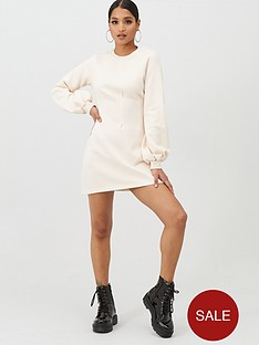 in-the-style-in-the-style-x-stephsa-pleat-detail-sweat-dress-cream