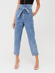 in-the-style-in-the-stylenbsptie-waist-paperbag-mom-jeans-bleach-wash