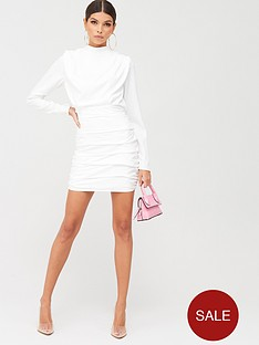 in-the-style-in-the-style-x-billie-faiersnbspwide-shoulder-ruched-mini-dress-white