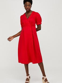 Monsoon Monsoon Terra Linen Blend Tea Dress - Red Picture
