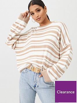 in-the-style-in-the-style-x-billie-faiers-stripe-knit-jumper-stone
