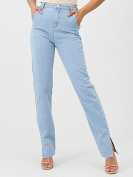 in-the-style-in-the-style-x-fashion-influx-high-waisted-side-split-jeans-blue