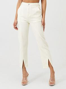 in-the-style-in-the-style-x-fashion-influx-high-waisted-straight-leg-split-hem-jeans-cream