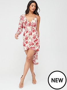 in-the-style-in-the-style-peony-print-floral-asymmetric-mini-dress-pinknbsp