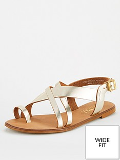 office-serious-wide-fit-flat-sandal-gold